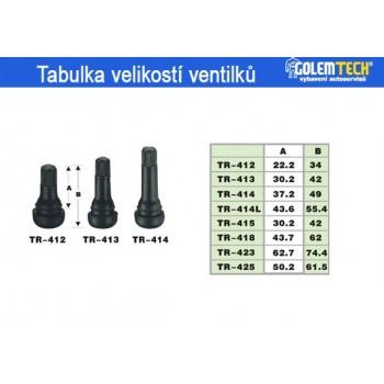 Bezdušové ventilky TR412